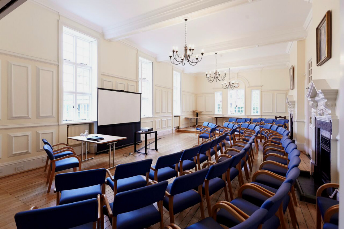 A view of Sidgwick Hall set up for a seminar