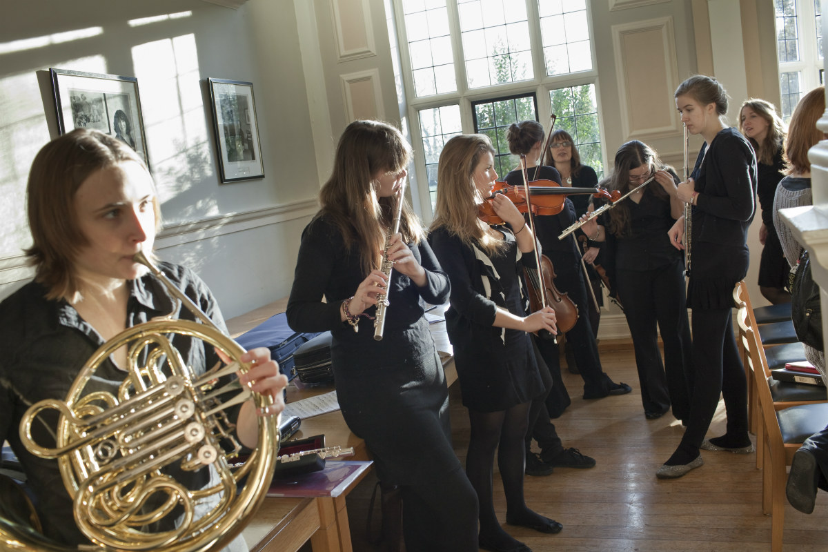 Woodwind performers practising