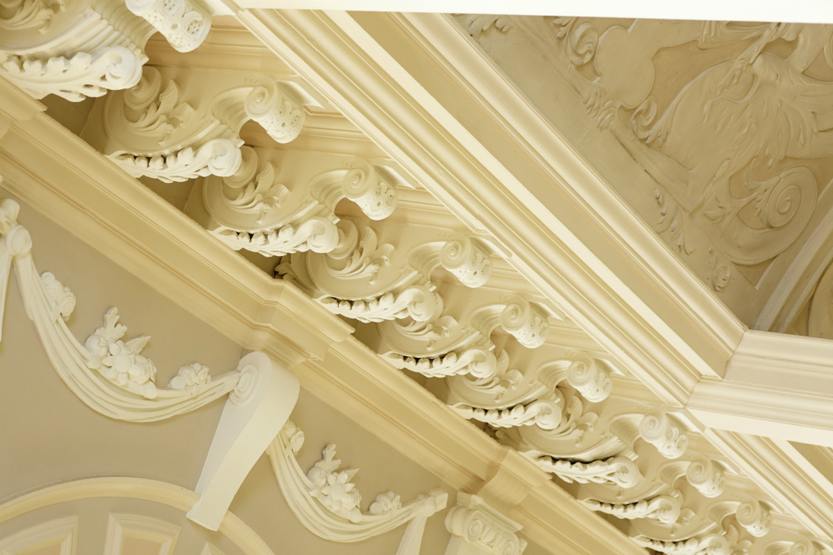 A close up photo of some of the beautiful architecture in the College Hall