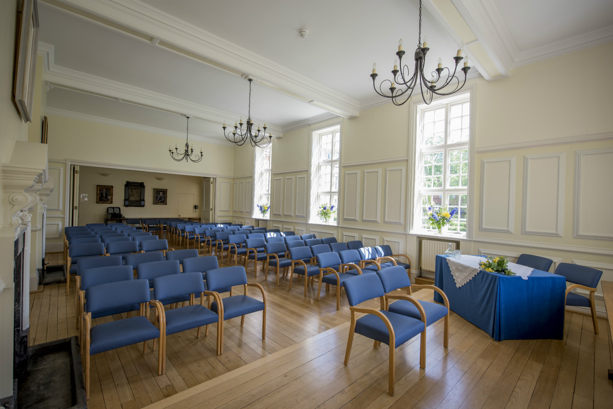 A photo of Sidgwick Hall set up for a wedding