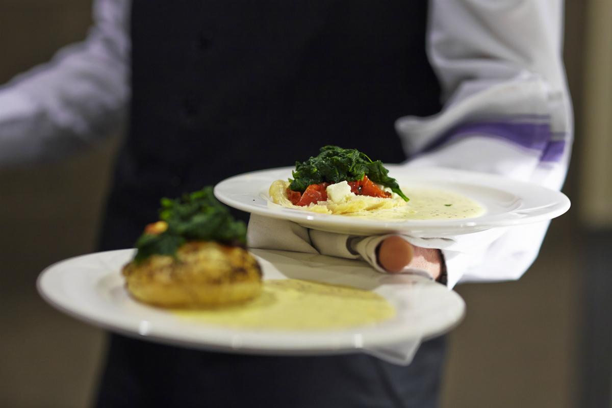 Formal Hall food being served