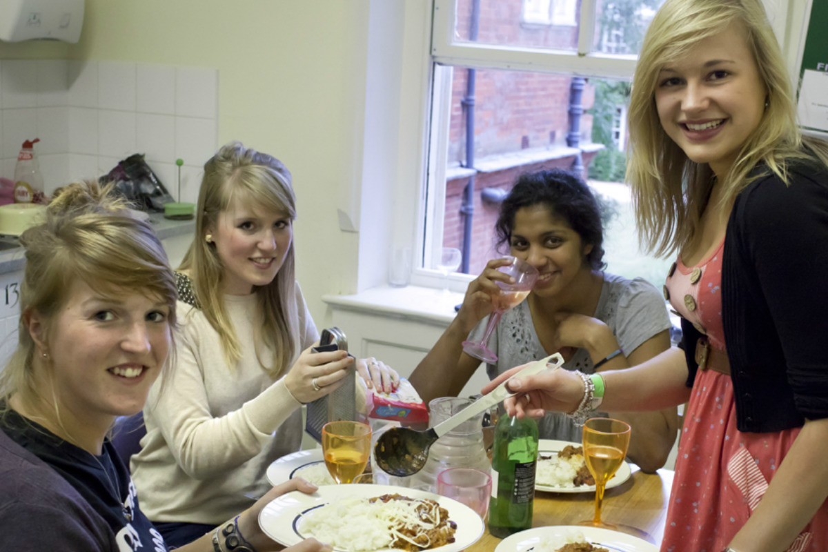 Students cooking together