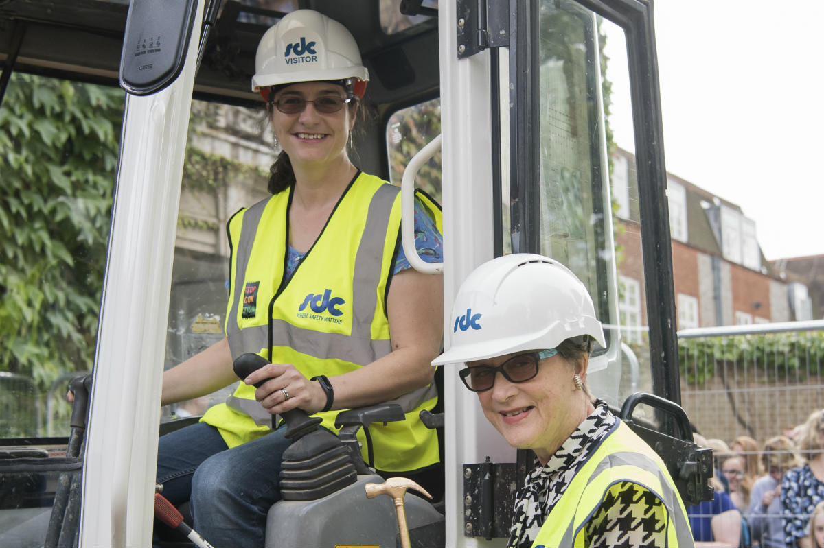 Philippa Moore in the digger