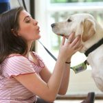 A student with a visiting trainee guide dog