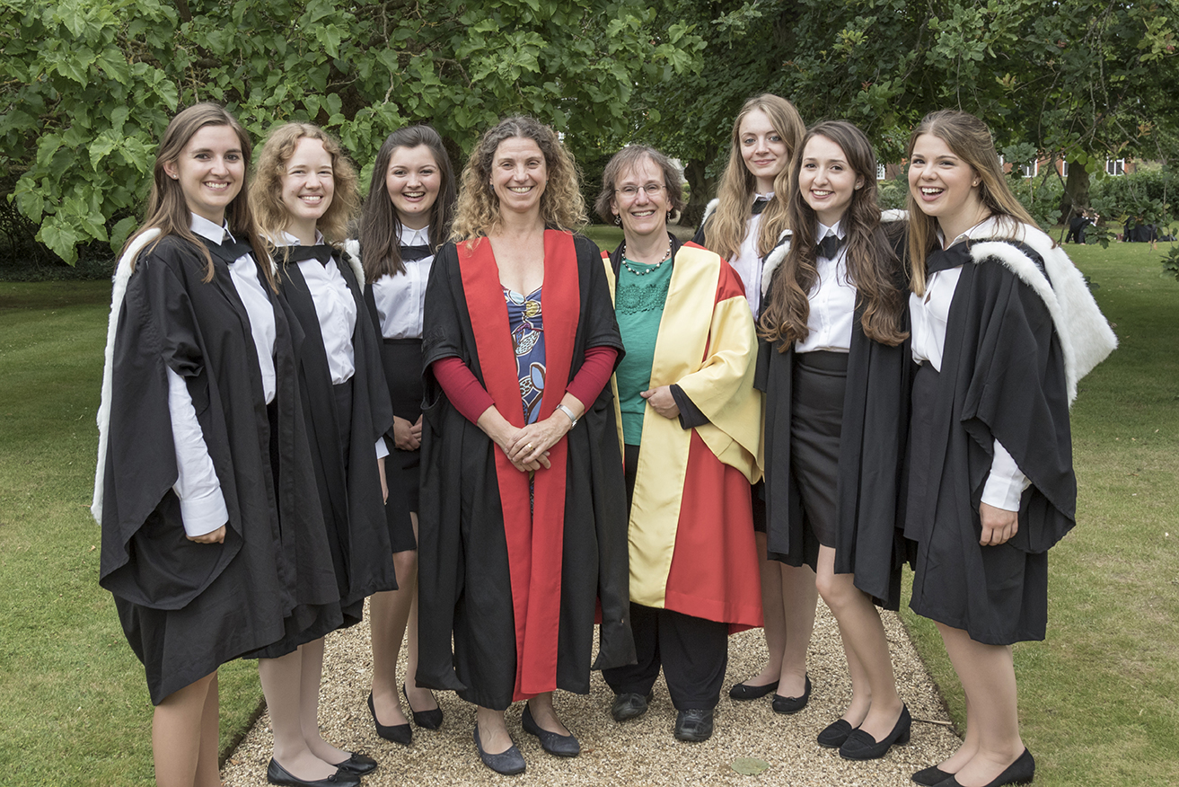 Dr Mander and Dr Watts with their graduating students