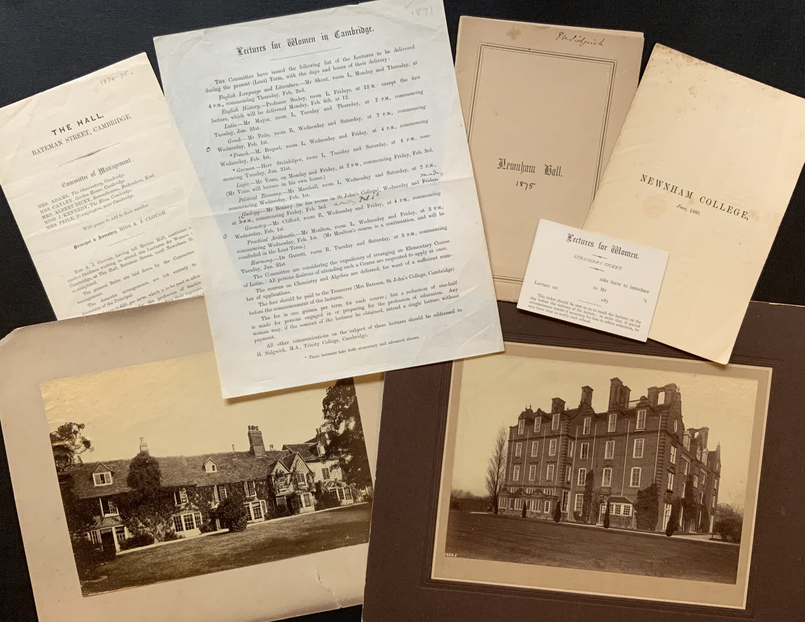 Archive documents and photographs from the 1870s